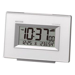 【RHYTHM】デジタル時計 置き時計 電波時計 フィットウェーブD194(白)・8RZ194SR03