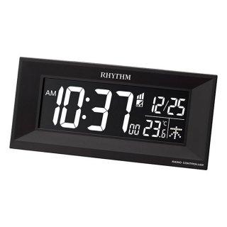 【RHYTHM】電波目覚まし時計 グラデーションLED 365色 IroriaイロリアM(ブラック)・8RZ196SR02