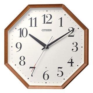【CITIZEN】掛け時計 電波時計 シンプルモダン スタンダード 八角 (茶色半艶仕上(ベージュ))・8MY529-006