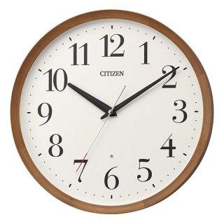 【CITIZEN】掛け時計 電波時計 シンプルモダン スタンダード 丸型 (茶色半艶仕上(ベージュ))・8MY535-006