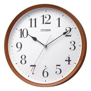 【CITIZEN】掛け時計 電波時計 シンプルモダン スタンダード 丸型 (茶色半艶仕上(ベージュ))・8MY540-006