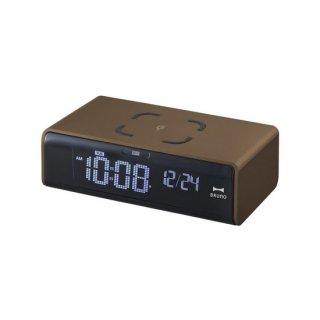【 BRUNO】高機能アラームクロック LCD クロック with ワイヤレス充電 ・BCA020-BR(ブラウン)