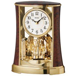 【SEIKO】置き時計 スタンダード(濃茶木目模様光沢仕上げ)・BY427B