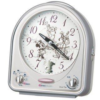 【キャラクタークロック】目覚まし時計 ミッキー&フレンズ(銀色メタリック塗装)・FD464S