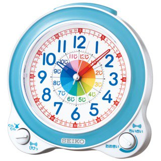 【SEIKO】目覚まし時計 知育時計(薄青パール)・KR887L