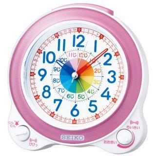 【SEIKO】目覚まし時計 知育時計(薄ピンクパール)・KR887P