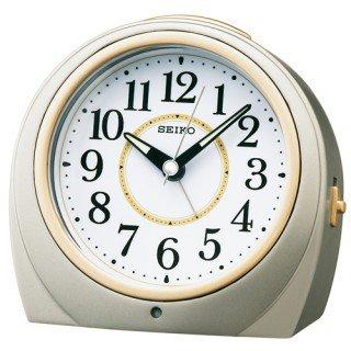 【SEIKO】目覚まし時計 夜でも見える(銀色メタリック塗装)・KR888S