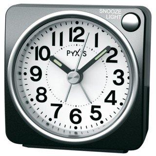 【PYXIS】目覚まし時計 ピクシス(黒メタリック塗装)・NR437K