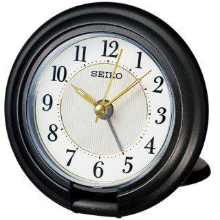 【SEIKO】目覚まし時計 トラベラ(黒メタリック塗装)・QQ637K