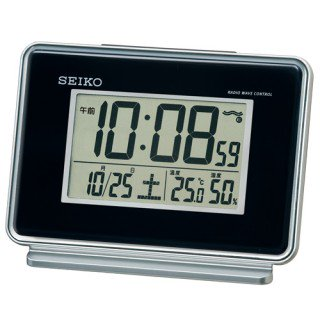 【SEIKO】デジタル時計 温度・湿度表示つき(黒)・SQ767K