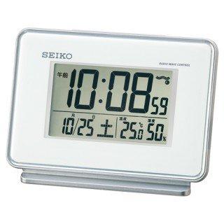 【SEIKO】デジタル時計 温度・湿度表示つき(白)・SQ767W