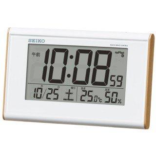 【SEIKO】デジタル時計 温度・湿度表示つき(薄茶木目模様)・SQ771B