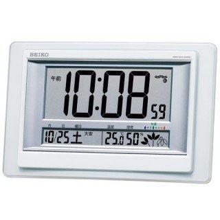【SEIKO】デジタル時計 温度・湿度表示つき(白パール塗装)・SQ432W