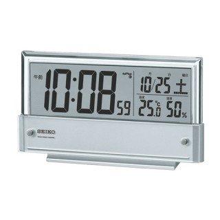 【SEIKO】デジタル時計 温度・湿度表示つき(銀色メタリック塗装)・SQ773S