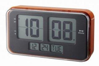 ※在庫のみ【BRUNO】ブルーノ置き時計LCDレトロアラームクロックL(オレンジ)・BCR004-OR