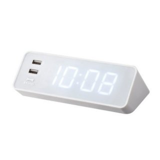 【BRUNO】ブルーノ電波目覚まし置き時計LEDCLOCKWITHUSB(ホワイト)・BCR001-WH