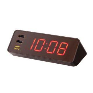 ※在庫のみ【BRUNO】ブルーノ電波目覚まし置き時計LEDCLOCKWITHUSB(ブラウン)・BCR001-BR