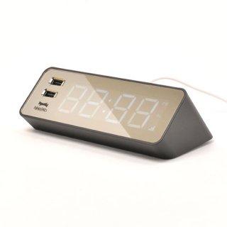 ※在庫のみ【BRUNO】ブルーノ電波目覚まし置き時計LEDCLOCKWITHUSB(ブラック)・BCR001-BK