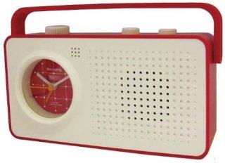 【CRAFTY】置き時計 レコーディングクロック レコエ(ホワイト/レッド)・CRF-050