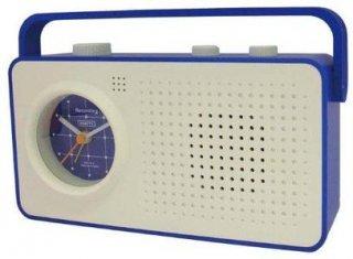 【CRAFTY】置き時計 レコーディングクロック レコエ(ホワイト/ブルー)・CRF-051