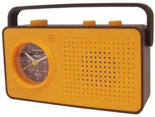 【CRAFTY】置き時計 レコーディングクロック レコエ(オレンジ/ブラウン)・CRF-052