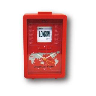 【CRAFTY】置き時計 クリップクロック ワールドフリップクロック(レッド)・CRF-085