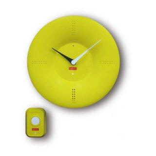 【CRAFTY】置き時計 クリップクロック ピンポンクロック(イエロー)・CRF-087
