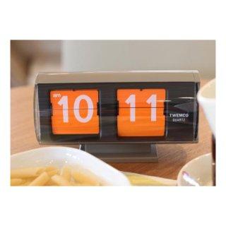 【TWEMCO】置時計 QT-30T(グレー(オレンジ文字盤))・TW6029【置時計専門店 時のしらべ】