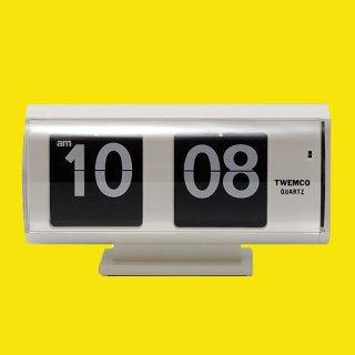 【TWEMCO】置時計 QT-30T(ホワイト�(ブラック文字盤))・TW6036