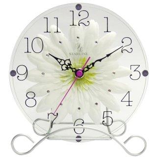 【スターライン】置き掛け両用時計時計アートフラワークロック(ホワイト)・STW-1178WT