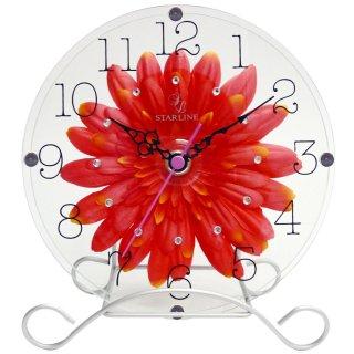 【スターライン】置き掛け両用時計時計アートフラワークロック(オレンジ)・STW-1178OR
