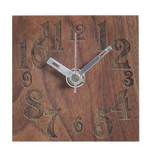 【ササキ工芸】置き時計 プチクロック ナンバー(ウォルナット)・CL-PETT-NU-W