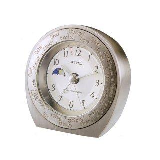 【ATOP】置き時計 ワールドタイムアラームクロック(シルバーシャンパン)・WB-1