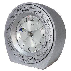 【ATOP】置き時計 ワールドタイムアラームクロック(シルバーグレイ)・WB-4