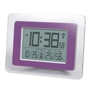 【SMARTEK】目覚まし時計 電波時計(パープル)・ML-471-PU