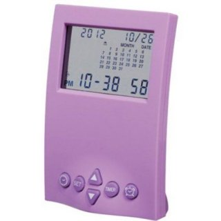 【SMARTEK】目覚まし時計 カレンダーアラームクロック(パープル)・ML-190-ZPU