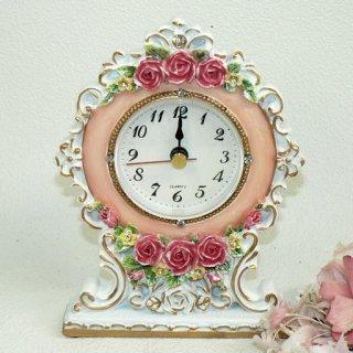 【GOLDCREST】置き時計 ロイヤルローズ(ピンク)・GO-1627PI