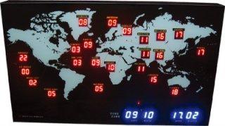 【HOUSE USE PRODUCTS】置き時計 LEDクロック ミニワールドタイム(ブラック)・ACL-057
