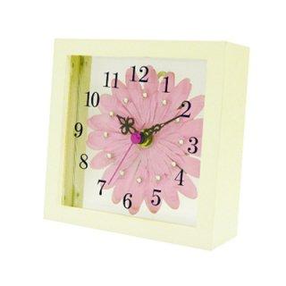 【スターライン】置き掛け両用時計時計アートフラワークロック(ピンク)・STW-1168PK
