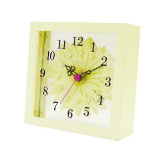 【スターライン】置き掛け両用時計時計アートフラワークロック(ホワイト)・STW-1168WT