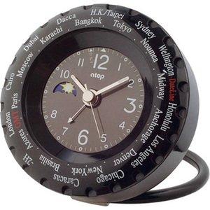 【ATOP】置き時計 ワールドタイムアラームクロック(ブラック)・LWK-1P