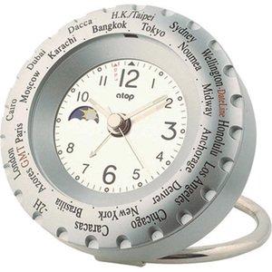 【ATOP】置き時計 ワールドタイムアラームクロック(シルバー)・LWK-2P
