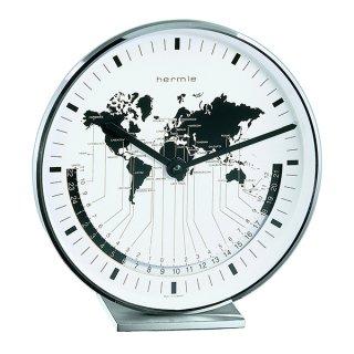 【Hermle】置き時計 Buffalo (シルバー)・22843-002100