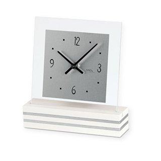 【AMS】置き時計 Funkuhren(ホワイト)・AMS1108