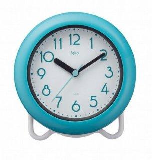 【Felio】置き時計 バスクロック バブルコート(ブルー)・FEW130BU