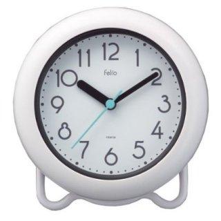 【Felio】置き時計 バスクロック バブルコート(ホワイト)・FEW130WH