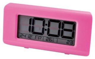在庫限り!【IDEA LABEL】イデアレーベル 置き時計 電波LCDアラームクロックHR(ピンク)・LCR084-PK