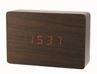 【インターフォルム】置き時計 APLA:lectangle[アプラ:レクタングル](ブラウン)・CL-4990