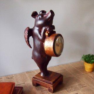 置き時計 伝説のアンティークエンジェルピッグ♪ 天使のブタさん【アンティーク調置き時計】 エンジェルピッグクロック(Fancy Pig Clock)・HM-9625