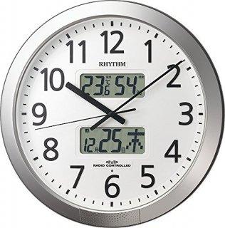 【RHYTHM】掛け時計正時メロディ・報時付プログラムカレンダー404SR(シルバーメタリック色(白))・4FN404SR19